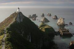 De vuurtoren van het Punt van het goudklompje, Catlins, Nieuw Zeeland Stock Fotografie