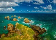 De Vuurtoren van het Punt van het goudklompje, Nieuw Zeeland stock afbeeldingen