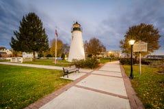 De Vuurtoren van het verdragspunt in Havre DE Grace, Maryland Stock Foto