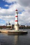 De Vuurtoren van Inrehamn in Malmö, Zweden Royalty-vrije Stock Foto's