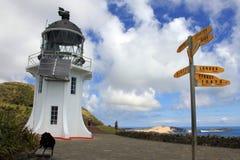 De Vuurtoren van kaapreinga bij de rand van Northland, Nieuw Zeeland Stock Fotografie