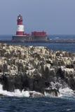 De Vuurtoren van Longstone in de Eilanden Farne - het UK Royalty-vrije Stock Afbeelding