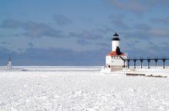 De Vuurtoren van Pierhead van het Oosten van de Stad van Michigan royalty-vrije stock foto