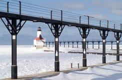 De Vuurtoren van Pierhead van het Oosten van de Stad van Michigan royalty-vrije stock afbeeldingen