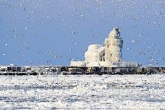 De Vuurtoren van Pierhead van het Westen van de Haven van Cleveland Stock Foto