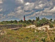 De Vuurtoren van de Ponceinham in New Smyrna Beach Stock Fotografie