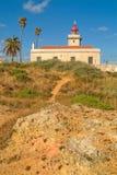 De vuurtoren van Ponta DA Piedade, dichtbij Lagos in Portugal royalty-vrije stock foto