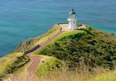 De vuurtoren van Reinga van de kaap, het Eiland van het Noorden, Nieuw Zeeland Stock Foto