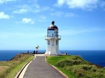 De Vuurtoren van Reinga van de kaap, Nieuw Zeeland Stock Foto