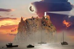 De Vuurtoren van Stromboli, Italië Stock Foto's