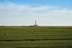 De vuurtoren van Westerhever Stock Foto