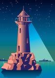 De vuurtoren verlicht het schip in nachtoverzees Uitstekende Illustratie Art Deco stock illustratie