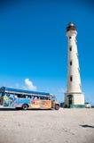 De Vuurtorenoriëntatiepunt van Californië op Aruba de Caraïben Stock Afbeeldingen