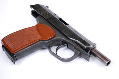 De vuurwapens van beperkte nederlaag het de dienstpistool namen op een barrièrevertraging toe royalty-vrije stock foto's