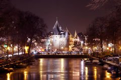 De Waag Building in Amsterdam the Netherlands. By night Stock Photography