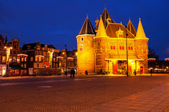 De Waag building in Amsterdam Netherlands by night Royalty Free Stock Image