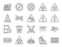 De waakzame reeks van het lijnpictogram Inbegrepen pictogrammen als waarschuwing, voorzichtigheid, gevaar, alarm, bericht en meer vector illustratie