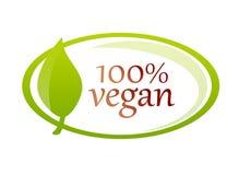 De waarborg van het veganistetiket met blad royalty-vrije illustratie