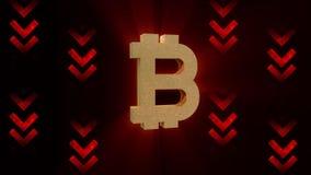 De waarde van de Bitcoindaling, crypto munttendens vector illustratie