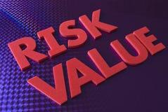 De waardewoord van het risico op blauwe neonachtergrond Stock Afbeelding