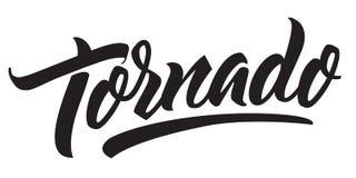 De waarschuwing van het tornadoonweer Met de hand gemaakte het van letters voorzien typografie royalty-vrije illustratie
