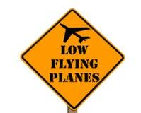De waarschuwing van verkeersteken van lage vliegende vliegtuigen Stock Foto
