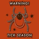 De waarschuwingskaart van het Tick'sseizoen Stock Foto