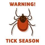 De waarschuwingskaart van het Tick'sseizoen Stock Foto's