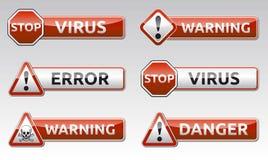De waarschuwingspictogram van het gevaarsvirus Stock Afbeelding