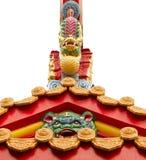 De wacht van de leeuw op Chinese tempel Royalty-vrije Stock Fotografie