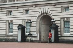 De wachten die van het Buckingham Palacequeens zich sterk bevinden stock afbeeldingen