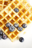 De wafels met suiker behandelden bosbessen en stroop F Royalty-vrije Stock Foto's