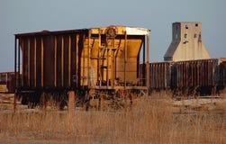 De wagen van de spoorweg en silo Stock Foto's