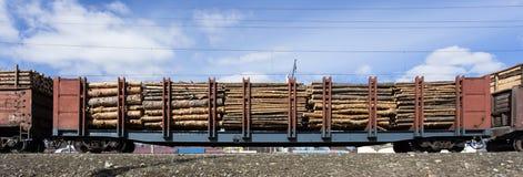 De wagen van de spoorwegvracht, met hout wordt geladen dat stock foto's