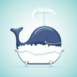 De walvis neemt bad met zeepzeepsop stock illustratie