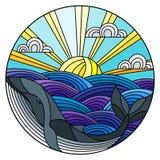 De walvis van de gebrandschilderd glasillustratie in de golven, de Zonnige hemel en de wolken, rond beeld royalty-vrije illustratie