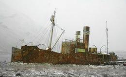 De walvisvangstschip van Beached Stock Afbeelding