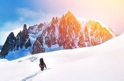 De wandelaar met rugzakken bereikt de top van bergpiek Succes Stock Afbeelding