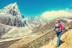 De wandelaar met rugzakken bereikt de top van bergpiek Succes, vrijheid en geluk, voltooiing in bergen Actieve sport royalty-vrije stock afbeelding