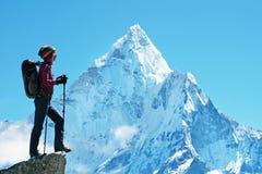 De wandelaar met rugzakken bereikt de top van bergpiek Succes, vrijheid en geluk, voltooiing in bergen Actieve sport stock afbeelding