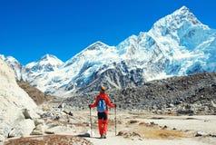 De wandelaar met rugzakken bereikt de top van bergpiek Succes, vrijheid en geluk, voltooiing in bergen Actieve sport stock foto