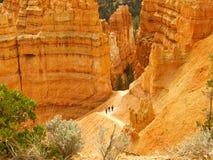 De wandelaars van de Canion van Bryce stock afbeelding