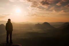 De wandelaartribune op de scherpe hoek van zandsteenrots in rotsimperiums parkeert en lettend op over de nevelige en mistige ocht Royalty-vrije Stock Afbeelding