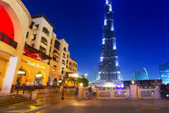 De Wandelgalerij van Doubai bij de toren van Burj Khalifa in Doubai Royalty-vrije Stock Afbeeldingen