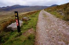 De wandeling van omhoog de berg in Ierland stock afbeeldingen