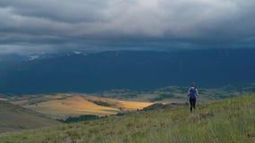 De wandeling van de vrouw Stijging in de bergen Vrouwenreiziger met rugzak op mooi de zomerlandschap stock videobeelden