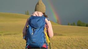 De wandeling van de vrouw Stijging in de bergen Vrouwenreiziger met rugzak op mooi de zomerlandschap Een meisje die in lopen stock footage
