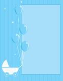 De wandelwagen van de baby en ballon gestreepte achtergrond Stock Afbeeldingen