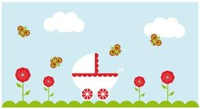 De wandelwagenrood van de baby Stock Afbeeldingen
