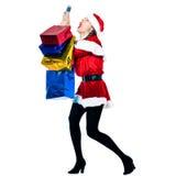 De wanhoop van de Kerstmistelefoon van de Kerstman van de vrouw Stock Foto's